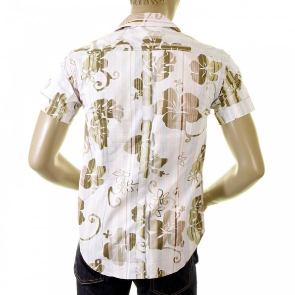 EVISU Early and Genuine Mens Short Sleeve Camel Floral Print Shirt