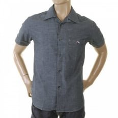 Early and Rare Mens Short Sleeve Blue Chambray Shirt