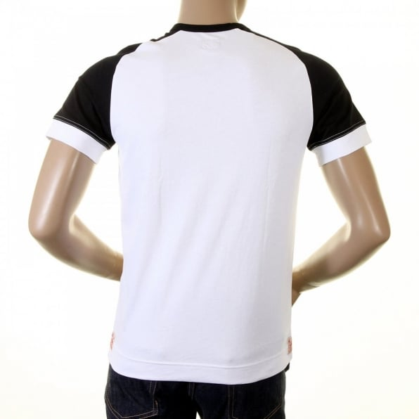 EVISU Early and Rare White with Black Short Sleeve T-Shirt