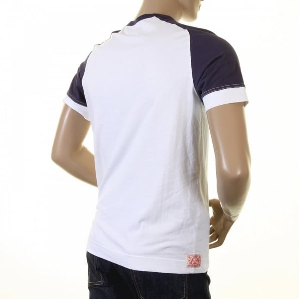 EVISU Early and Rare White with Ink Blue Short Sleeve T-Shirt