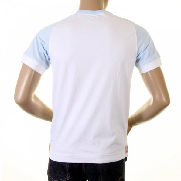 EVISU Original and Rare White with Sky Blue Short Sleeve T-Shirt
