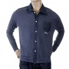 Original Denim Trimmed Ink Blue Knitted Shirt
