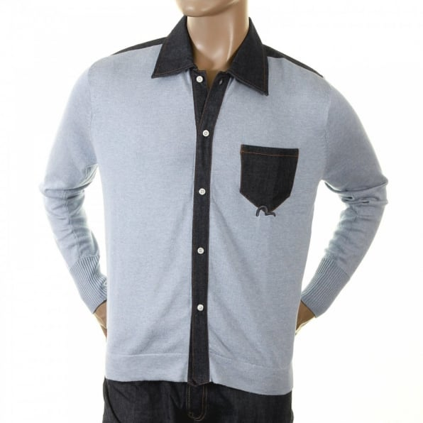 EVISU Original Denim Trimmed Sky Blue Knitted Shirt