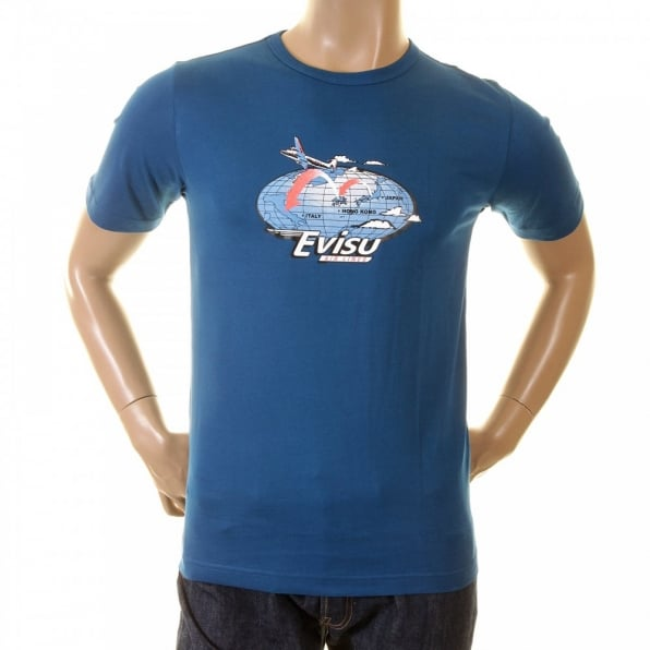 EVISU Petrol blue Early original Airline printed t shirt