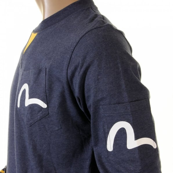 EVISU Rare and Authentic Ink Blue Long Sleeve Five Pocket T Shirt