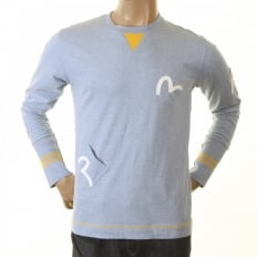Rare and Authentic Sky Blue Long Sleeve Five Pocket T Shirt
