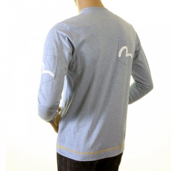 EVISU Rare and Authentic Sky Blue Long Sleeve Five Pocket T Shirt