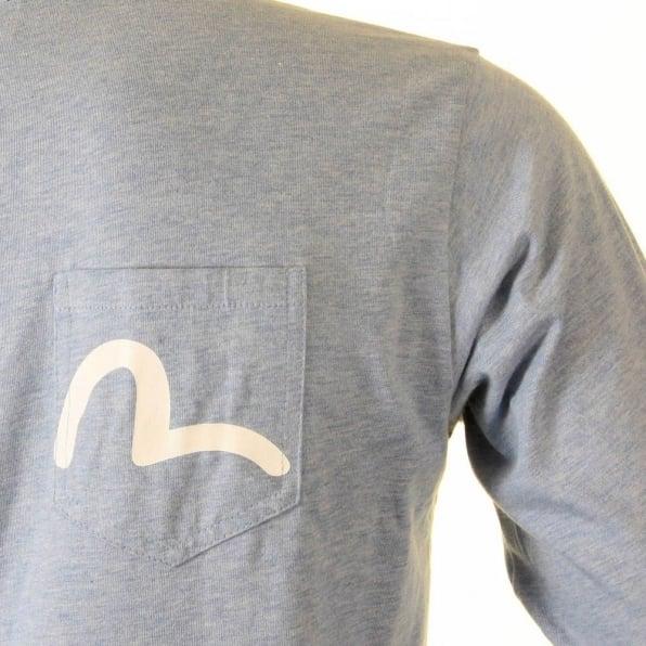 EVISU Rare and Authentic Sky Blue Long Sleeve Five Pocket T Shirt