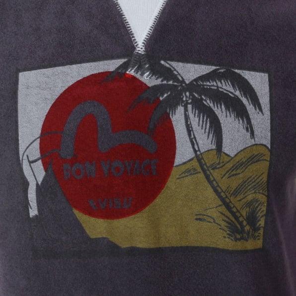 EVISU Rare and Genuine Ink Blue BON VOYAGE Print T Shirt