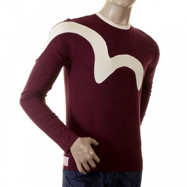 EVISU Rare and Original Bordeaux Long Sleeve T Shirt