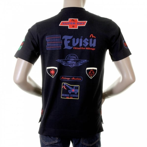 EVISU Rare and Original Short Sleeve Mens Black T Shirt
