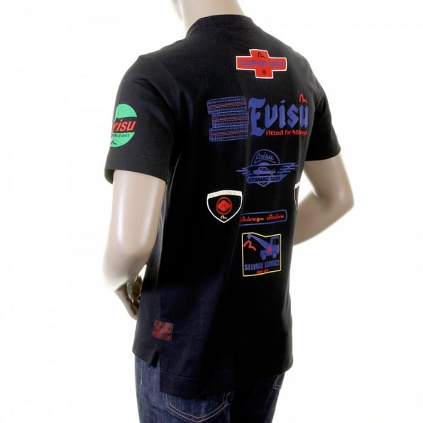 EVISU Rare and Original Short Sleeve Mens Black T Shirt