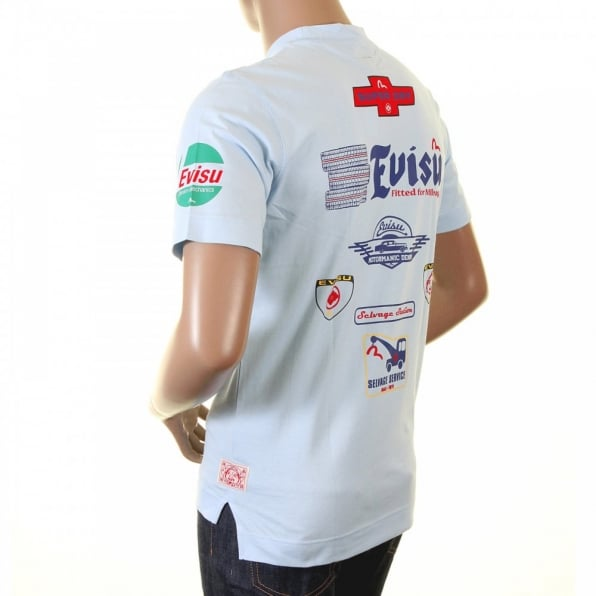 EVISU Rare and Original Sky Blue Motor Sponsor T-Shirt