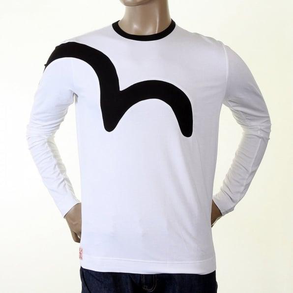 EVISU Rare and Original White Long Sleeve T Shirt