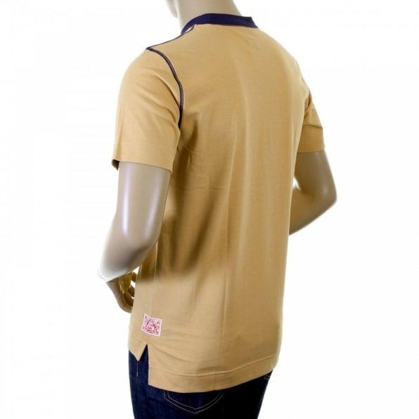 EVISU Rare Camel Coloured T-Shirt with 24 HOUR LOOM SERVICE Design