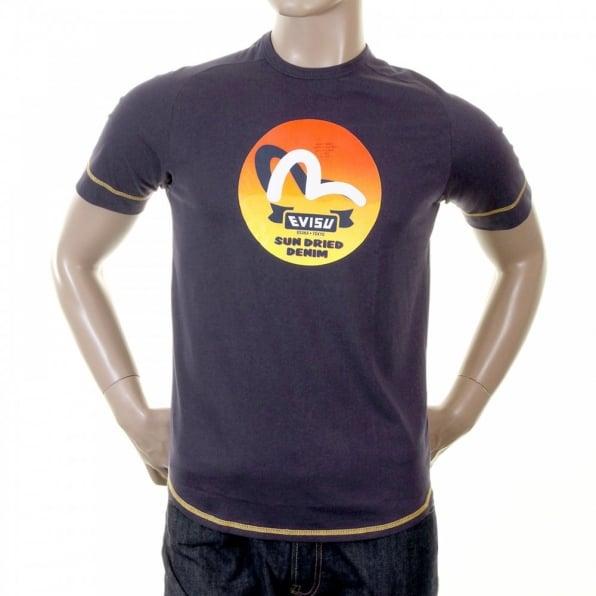EVISU Rare Ink Blue T-Shirt with SUN DRIED DENIM Logo