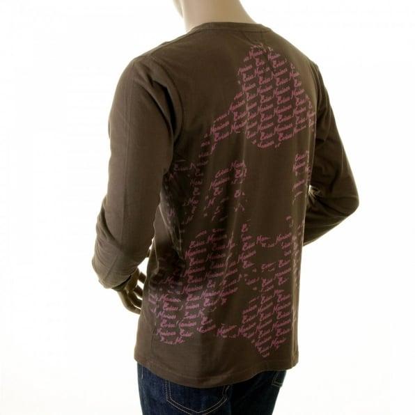 EVISU Rare Pink Print on Chocolate Evisu Maniacs t shirt