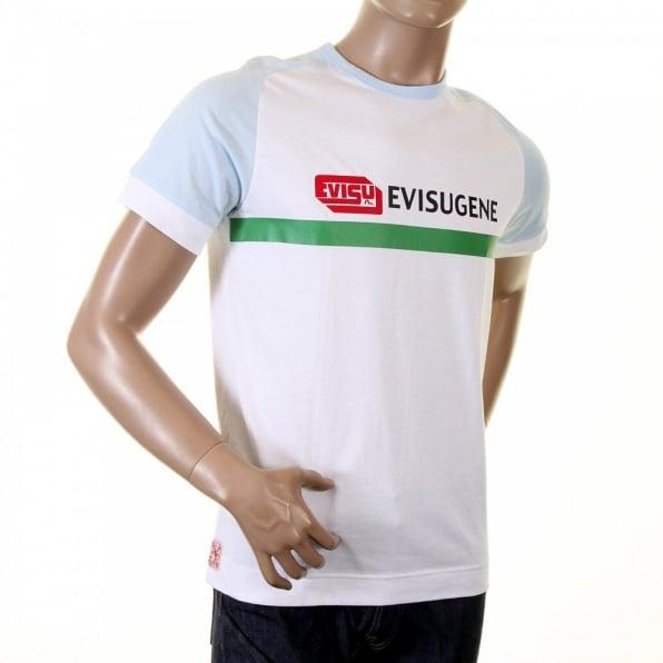 EVISU Rare White with Sky Blue Short Sleeve T-Shirt