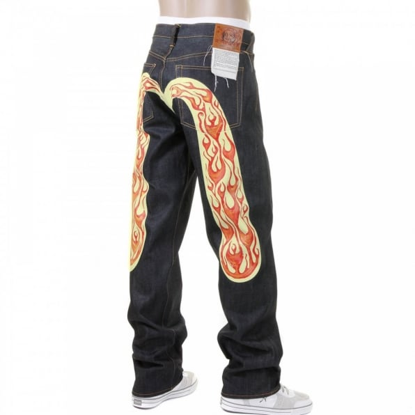 EVISU Vintage Cut Fire Diacock Raw Denim Jeans