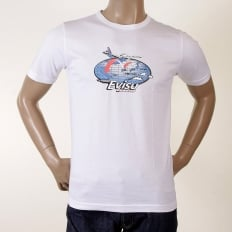 White Original Evisu Airline Short Sleeved T Shirt