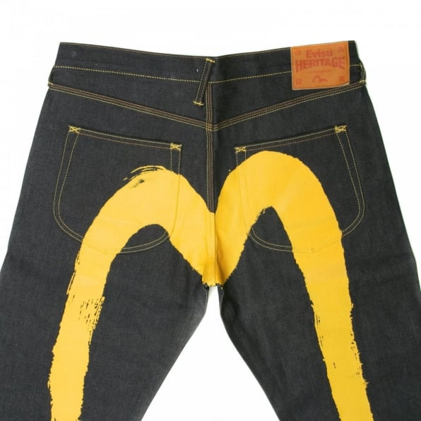 EVISU Yellow painted diacock jean