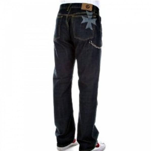 FAKE LONDON Dark Wash Two Tone Straight Leg Jeans