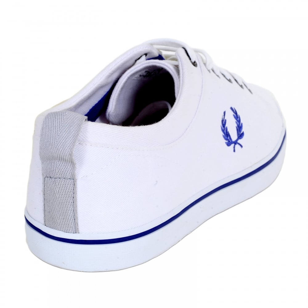 35b0970b7 ... FRED PERRY Hallam Twill White Canvas Trainers from Men with 2 Brand  Embossed Metal Eyelets ...