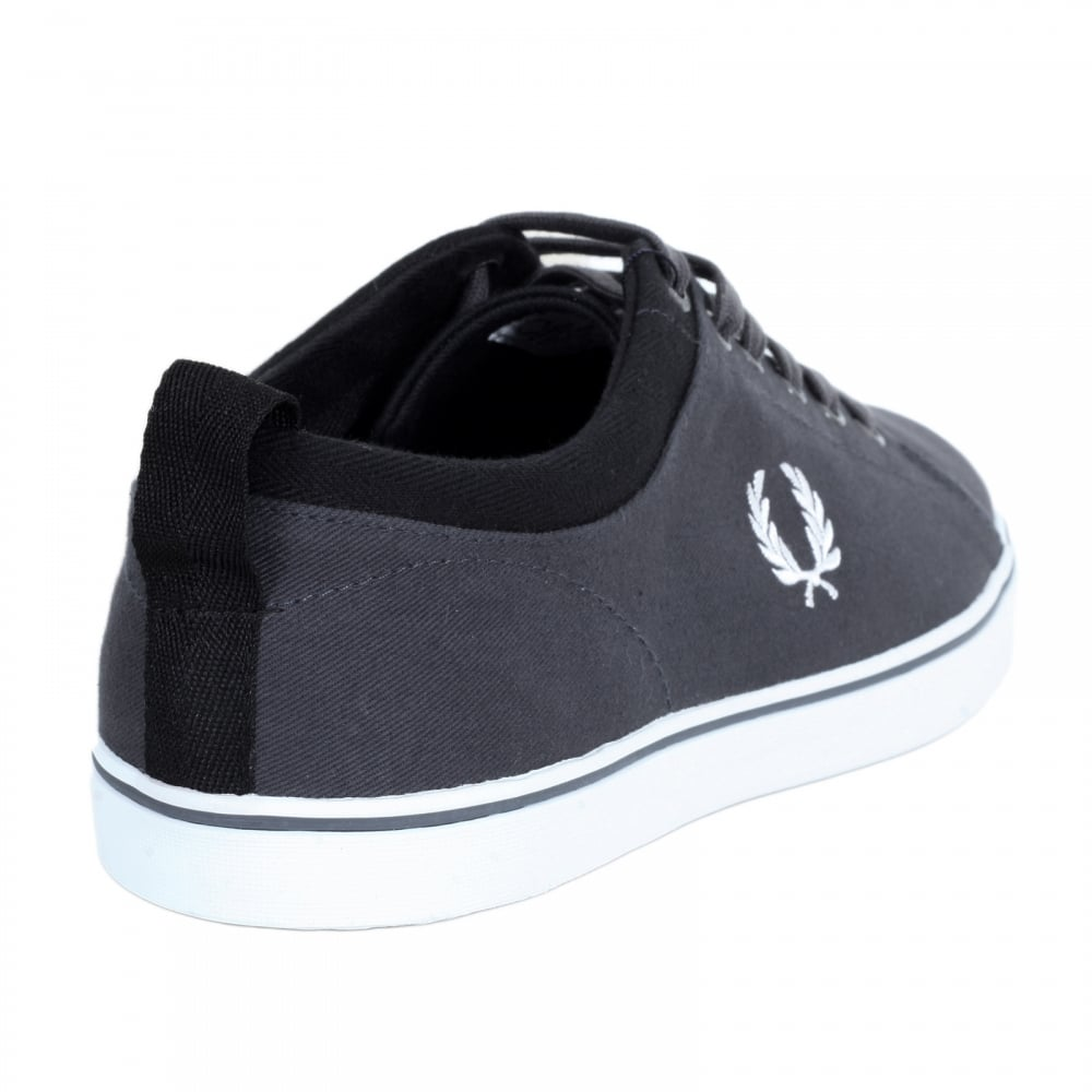... FRED PERRY Mens Hallam Twill Canvas Trainers in Charcoal with White  Laurel Leaf Embroidered Logo ...