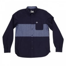 Mens Regular Fit Long Sleeve Button down Collar Shirt in Navy