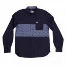 FRED PERRY Mens Regular Fit Long Sleeve Button down Collar Shirt in Navy