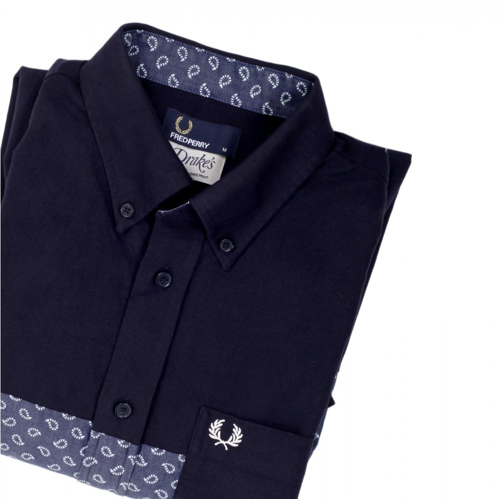 c4119e15 FRED PERRY Mens Regular Fit Long Sleeve Button down Collar Shirt in Navy ...