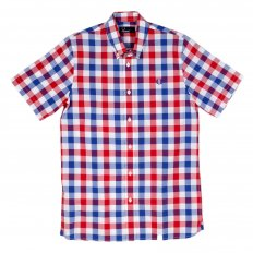 Mens White Blood Red and Navy Check Regular Fit Short Sleeve Cotton Shirt