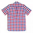 FRED PERRY Mens White Blood Red and Navy Check Regular Fit Short Sleeve Cotton Shirt