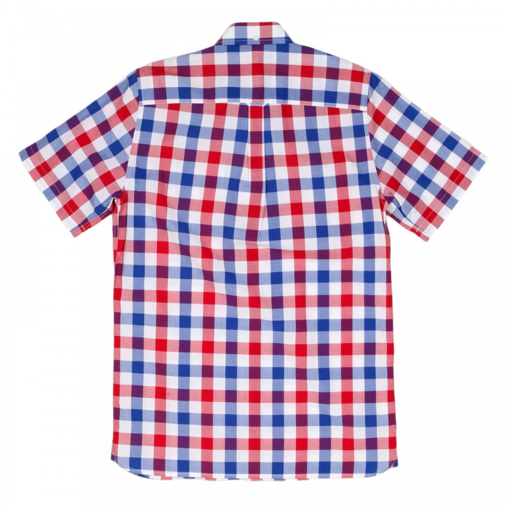 1e1b0b80c1c FRED PERRY Mens White Blood Red and Navy Check Regular Fit Short Sleeve  Cotton Shirt