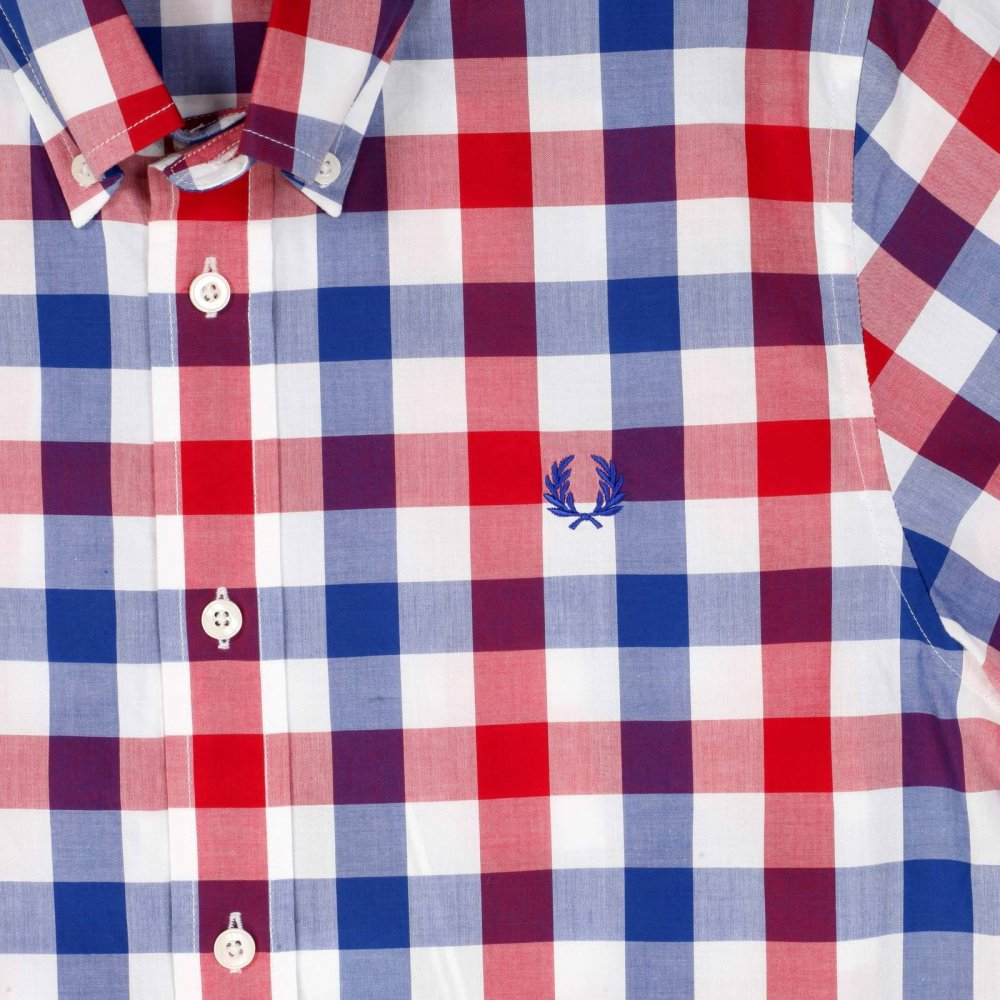 GENUINE FRED PERRY Mens Short Sleeve Bold Check Pink Blue Shirt Small S