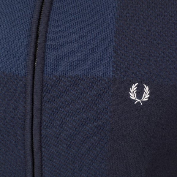 FRED PERRY Navy Full Zip Front Wool and Cotton Blend Knitted Cardigan for Men Laurel Leaf Chest Logo FPRY6738