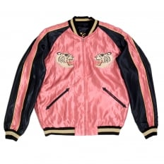 Fully Reversible Suka Jacket in Pink and Black with Tiger Embroidery by Sugar Cane Tailor Toyo TOYOSC7526A