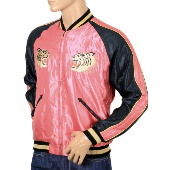 TAILOR TOYO Fully Reversible Suka Jacket in Pink and Black with Tiger Embroidery by Sugar Cane Tailor Toyo TOYOSC7526A