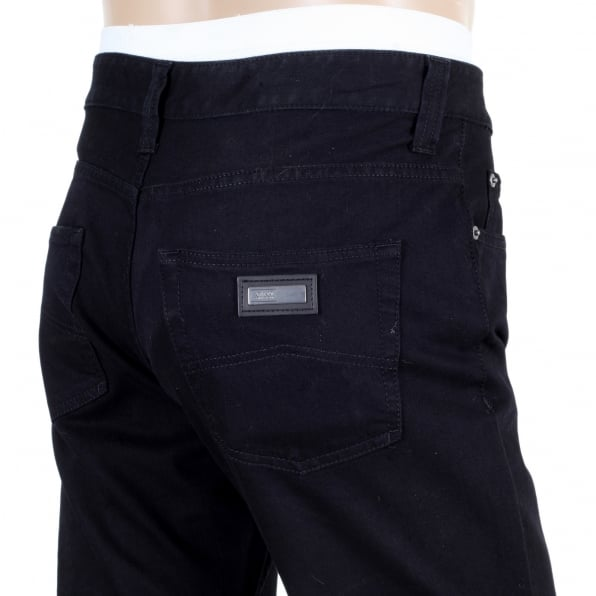 GIORGIO ARMANI Black Regular Fit Straight and Tight Leg Stretch Cotton J15 Denim Jeans