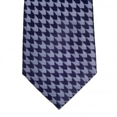 Blue Grey Woven Silk Tie with Jacquard Arrow Pattern and Logo Lining