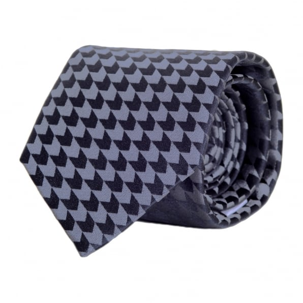 GIORGIO ARMANI Blue Grey Woven Silk Tie with Jacquard Arrow Pattern and Logo Lining