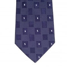Blue with White Check Patterned Silk Tie with Logo Jacquard Lining