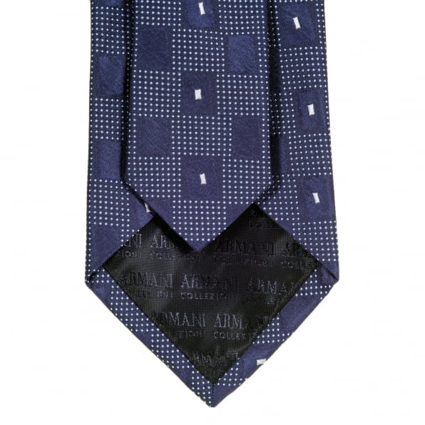 GIORGIO ARMANI Blue with White Check Patterned Silk Tie with Logo Jacquard Lining