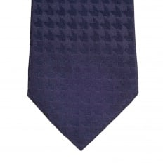 Dark Blue Woven Silk Tie with Jacquard Arrow Pattern and Logo Lining