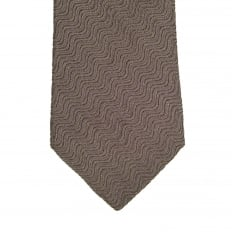 Espresso Brown Silk, Polyester, and Polyamide Mix Tie with Textured Wave Pattern