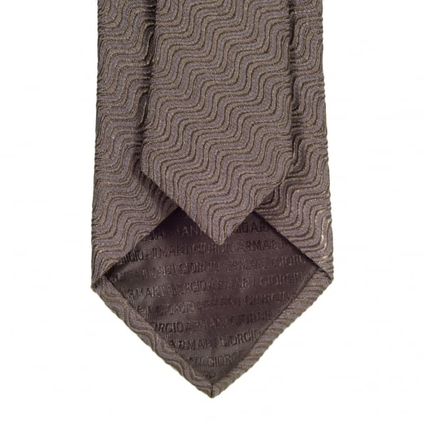 GIORGIO ARMANI Espresso Brown Silk, Polyester, and Polyamide Mix Tie with Textured Wave Pattern