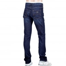 J15 Regular Fit Medium Waist Straight and Tight Leg Stretch Blue Denim Jeans with Faded Front and Back