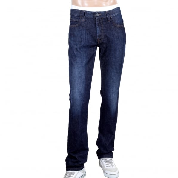 GIORGIO ARMANI J15 Regular Fit Medium Waist Straight and Tight Leg Stretch Blue Denim Jeans with Faded Front and Back
