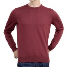 Mens Crew Neck Virgin Wool Made Knitwear in Terracotta with Ribbed Collar, Sleeve Cuffs and Waistband