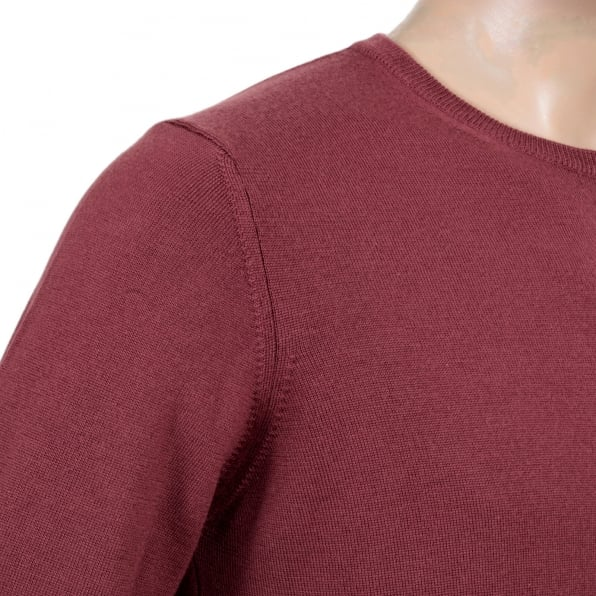 GIORGIO ARMANI Mens Crew Neck Virgin Wool Made Knitwear in Terracotta with Ribbed Collar, Sleeve Cuffs and Waistband